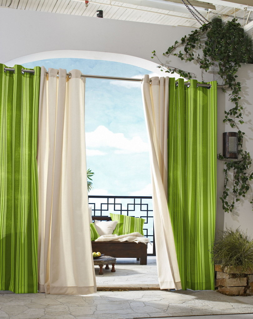 Bedroom Curtain Bedroom Design With Lovely Curtain Ideas With Green And White In Chrome Tubular Panel Also Rustic Stone Flooring Fantastic Bedroom Design With Gorgeous Curtain Ideas Helda Site Furnitures