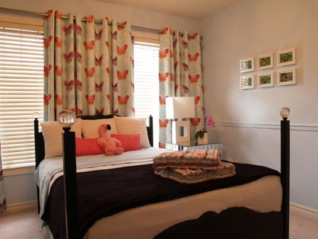 Bedroom Curtains Appealing Natural Window Curtain Design For Bedroom Decor Comes With Cheerful Wooden Bed Pillars Design And More Importantly Adorable Orange Butterfly Motif Idea Helda Site Furnitures Home Design