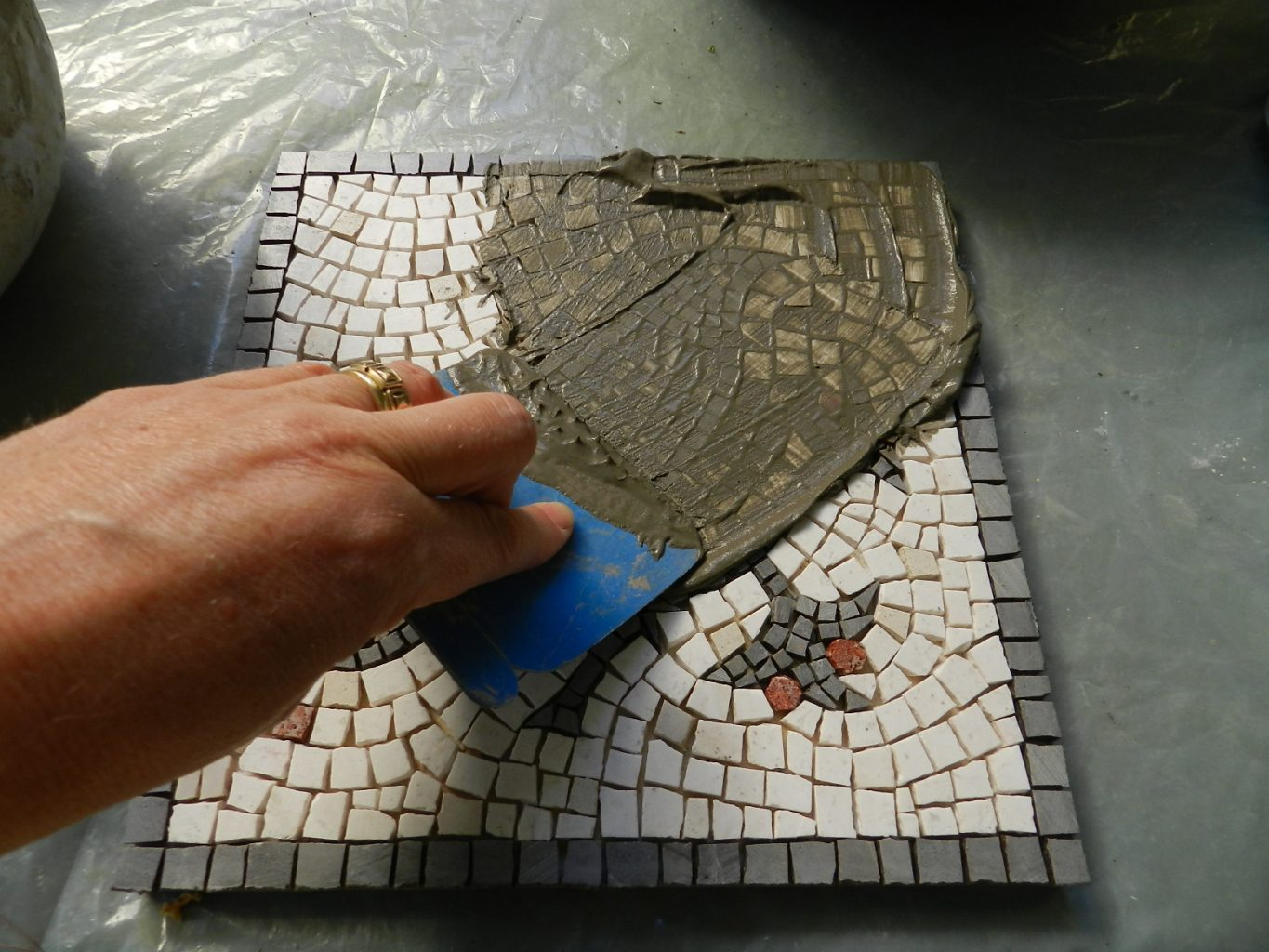 Grout Mosaic Tile Making A Mosaic Trivet Part Iv Grouting Mosaics