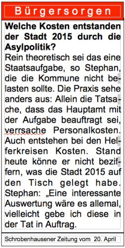 Leserbrief an die Schrobenhausener Zeitung