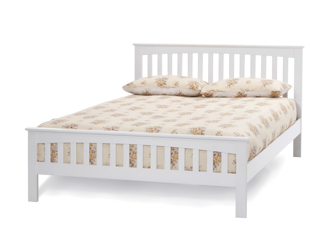 4ft Double Bed Size 5ft King Size Leah White Finish Wood Frame Bedstead