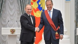 Foreign Minister Sergey Lavrov awarded the Order for Services to the Fatherland, I Degree. Photo via Russian Presidency