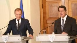 File Photo: Ο Πρόεδρος της Δημοκρατίας κ. Νίκος Αναστασιάδης και ο Πρόεδρος του Ευρωπαϊκού Συμβουλίου κ. Donald Tusk. Φωτογραφία ΣT. ΙΩΑΝΝΙΔΗΣ