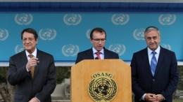 FILE PHOTO: Cypriot President Nicos Anastasiades (L) and Turkish Cypriot leader Mustafa Akinci (R) listening to Special Advisor to the UN Secretary-General on Cyprus, Espen Barth Eide (C). EPA, KATIA CHRISTODOULOU