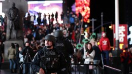File Photo: Members of the New York City Police Strategic Response Group are seen in New York's Times Square, USA. EPA, JASON SZENES
