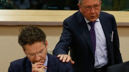 File PHOTO: President of Eurogroup and Dutch Finance Minister Jeroen Dijsselbloem (L) and Managing Director of the European Stability Mechanism (ESM) Klaus Regling. EPA, LAURENT DUBRULE