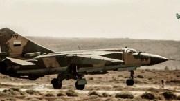 Mαχητικό Mig-23 της συριακής αεροπορίας. Φωτογραφία Συριακή Τηλεόραση.