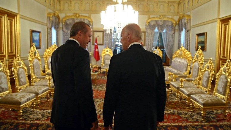 FILE PHOTO: A handout picture provided by Turkish President Press office of Turkish President Recep Tayyip Erdogan (L) and then US Vice President Joe Biden (R) for a meeting in Istanbul, Turkey, 23 January 2016. EPA, TURKISH PRESIDENT PRESS OFFICE, HANDOUT EDITORIAL USE ONLY