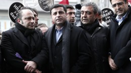 FILE PHOTO: Selahattin Demirtas (2-L), Leader of the Democratic People's Party (HDP) attends a rally to mark the 9th death anniversary of the Turkish-Armenian journalist Hrant Dink in front of the Agos newspaper in Istanbul, Turkey, 19 January 2016. Dink was shot dead in 2007 outside his Istanbul office. An ultra-nationalist sympathizer Ogun Samast, who was 17 at the time of the killing, was sentenced to 23 years in prison for having committed the murder. EPA, SEDAT SUNA