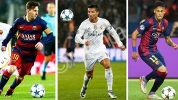 A composite file picture of FC Barcelona's Lionel Messi (L, taken on 24 November 2015 in Barcelona, Spain), Real Madrid's Cristiano Ronaldo (C, taken on 21 October 2015 in Paris, France), and FC Barcelona's Neymar (R, taken on 06 June 2015 in Berlin, Germany). EPA, ANDREU DALMAU - YOAN VALAT - MARCUS BRANDT