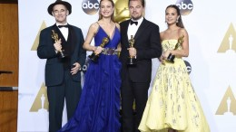 (L-R) Mark Rylance holds the Oscar for Actor in a Supporting Role for 'Bridge of Spies', Brie Larson holds the Oscar for Actress in a Leading Role for 'Room', Leonardo DiCaprio holds the Oscar for Actor in a Leading Role for 'The Revenant' and Alicia Vikander holds the Oscar for Actress in a Supporting Role for 'The Danish Girl' in the press room during the 88th annual Academy Awards ceremony at the Dolby Theatre in Hollywood, California, USA, 28 February 2016. EPA, PAUL BUCK