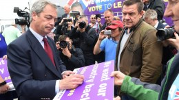 FILE PHOTO: Leader of the United Kingdom Independence Party (UKIP), Nigel Farage (L), meets voters as he continues his Leave campaign ahead of the EU referendum, in Ramsgate, Kent, Britain, 13 June 2016. EPA, FACUNDO ARRIZABALAGA