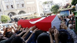 FILE PHOTO: Relatives of Hakan Tekin and his wife Esra Tekin, the victims of the bomb attack on a police bus in the Vezneciler district on 07 June, carrying their coffin during the funeral ceremony at Fatih Mosque Istanbul, Turkey, 08 June 2016. EPA, SEDAT SUNA