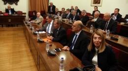 Ο πρόεδρος της Βουλής Νίκος Βούτσης (1-A) προεδρεύει στη Διάσκεψη των Προέδρων της Βουλής για τη συγκρότηση του Εθνικού Συμβουλίου Ραδιοτηλεόρασης (ΕΣΡ). ΑΠΕ-ΜΠΕ, Αλέξανδρος Μπελτές