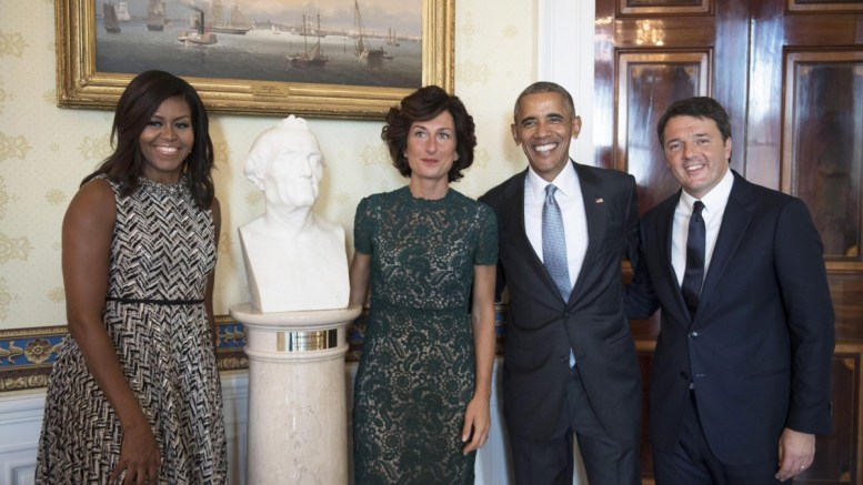 US President Barack Obama (2nd R), US first lady Michelle Obama (L), Italian Prime Minister Matteo Renzi (R), and his wife Agnese Landini (2nd L), during their meeting at the White House in Washington DC, USA, 18 October 2016. EPA, TIBERIO BARCHIELLI, PALAZZO CHIGI PRESS OFFICE, HANDOUT EDITORIAL USE ONLY