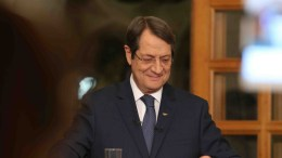 A handout picture released by the Cypriot government's Press and Information Office (PIO) shows Cypriot President Nicos Anastasiades joint televised press conference on the latest developments of the Cyprus problem for News Directors of TV Channels that broadcast throughout Cyprus, at the Presidential palace in Nicosia, Cyprus, 23 November 2016.  EPA, CYPRIOT PRESS OFFICE