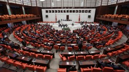 A file picture shows lawmakers attend an extraordinary assembly at the Turkish Parliament, in Ankara. EPA/STRINGER