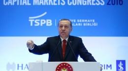 Turkish President Recep Tayyip Erdogan speaks during the Capital Markets Congress in Istanbul, Turkey. EPA, TURKISH PRESIDENT OFFICE