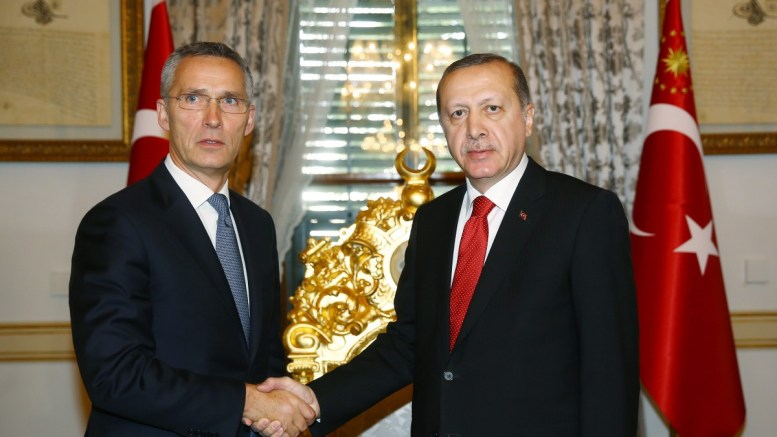 A handout picture provided by Turkish President Press office shows, Turkish President Recep Tayyip Erdogan (R) as he shake hands with NATO Secretary General Jens Stoltenberg (L) at NATO Parliamentary Assembly summit in Istanbul , Turkey, 21 November 2016. EPA, TURKISH PRESIDENT PRESS OFFICE