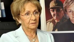 """File PHOTO: Juanita Castro, sister of Fidel and Raul Castro, speaks during an interview with Spanish News Agency EFE in the context of the presentation of her book """"Fidel and Raul, My Brothers: The Secret History"""" in Miami, Florida. The relative of the historical leader and the current president said that it was not easy to decide between family and join the US CIA to fight against the communist regime which, according to her, replaced the initial ideas of the Cuban Revolution. EPA, GASTON DE CARDENAS"""