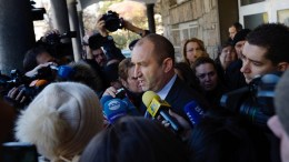 Rumen Radev, Presidential candidate of Initiative Committee, formally supported by the Bulgarian Socialist Party (BSP) speaks with journalists after his vote in the second round of Presidential elections in Bulgaria, at a polling station in Sofia, Bulgaria, 11 November 2016. Some 6.8 million Bulgarians vote in a runoff for a new president of EU member state on the Balkans. The vote will also decide the future of the center-right government in Sofia. Prime Minister Boyko Borisov said his cabinet would resign if the candidate of his GERB party, Tsetska Tsatcheva, lost the runoff. In the first round of voting on November 06, the candidate of the oppositional Socialist Party, the former general Roumen Radev, came in first. EPA, VASSIL DONEV