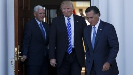 Former Massachusetts Governor Mitt Romney (R) leaves after meeting with US President-elect Donald Trump (C) and Vice President-elect Mike Pence (L) at the clubhouse at Trump International Golf Club, in Bedminster Township, New Jersey, USA, 19 November 2016. EPA/Aude Guerrucci / POOL