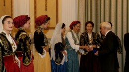 File Photo: O Όμιλος Βρακοφόρων Κρήτης έψαλε τα κάλαντα και χόρεψε κρητικούς χορούς στον Προέδρο της Δημοκρατίας, Προκόπη Παυλόπουλο (Δ), στο Προεδρικό Μέγαρο, Αθήνα, Σάββατο 24 Δεκεμβρίου 2016. ΑΠΕ-ΜΠΕ, Παντελής Σαΐτας
