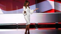 Melania Trump, businesswoman and wife of Donald Trump, takes the stage to deliver remarks on the first day of the 2016 Republican National Convention in Cleveland, Ohio, USA, 18 July 2016. The four-day convention is expected to end with Donald Trump formally accepting the nomination of the Republican Party as their presidential candidate in the 2016 election.  EPA/SHAWN THEW