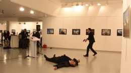 File Photo: Gunman (R) clutching a pistol stands near slain Russia's ambassador to Turkey, Andrey Karlov's body (down), after he shot him during an art exhibition in Ankara, Turkey, 19 December 2016. Russia's ambassador to Turkey, Andrey Karlov, has been shot at an art exhibition in the Turkish capital of Ankara. Karlov has died of his wounds after the attack, Russia's Ministry of Foreign Affairs confirmed. EPA, SOZCU NEWSPAPER VIA DEPO PHOTOS TURKEY OUT
