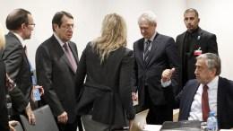 Ο Πρόεδρος της Δημοκρατίας κ. Νίκος Αναστασιάδης και ο κατοχικός ηγέτης κ. Μουσταφά Ακιντζί μαζί με τον κ. Άιντα και τον κ. Μαυρογιάννη. ΚΥΠΕ, ΚΑΤΙΑ ΧΡΙΣΤΟΔΟΥΛΟΥ
