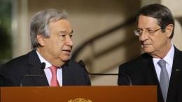 ΦΩΤΟΓΡΑΦΙΑ ΑΡΧΕΙΟΥ. Ο  Γενικός Γραμματέας του ΟΗΕ Αντόνιο Γκουτέρες με τον Πρόεδρο της Δημοκρατίας κ. Νίκο Αναστασιάδη προβαίνει σε δηλώσεις στα ΜΜΕ στη Γενεύη της Ελβετίας, Πέμπτη 12 Ιανουαρίου 2017. ΚΥΠΕ, ΚΑΤΙΑ ΧΡΙΣΤΟΔΟΥΛΟΥ
