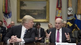 US President Donald J. Trump (L) listens to Secretary of the Department of Homeland Security John Kelly (R). EPA, MICHAEL REYNOLDS