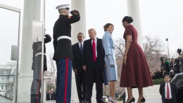 US President Barack Obama and First Lady Michelle Obama welcome President-elect Donald J. Trump and his wife Melania to the White House prior to the inauguration in Washington, DC, USA, 20 January 2017. Trump won the 08 November 2016 election to become the next US President. EPA, KEVIN DIETSCH / POOL