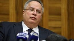 Ο Νίκος Κοτζιάς, κάνει δηλώσεις στην έδρα του ΟΗΕ, στη Γενεύη. ΚΥΠΕ/ΚΑΤΙΑ ΧΡΙΣΤΟΔΟΥΛΟΥ ΚΑΤΙΑ ΧΡΙΣΤΟΔΟΥΛΟΥ