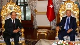 FILE PHOTO: Iraqi Kurdish leader Massoud Barzani (L) with Turkish President Recep Tayyip Erdogan (R) during their meeting in Istanbul, Turkey. EPA, TURKISH PRESIDENT PRESS OFFICE HANDOUT EDITORIAL USE ONLY