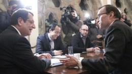 Ο Πρόεδρος της Δημοκρατίας Νίκος Αναστασιάδης με τον Ειδικό Σύμβουλο του Γ.Γ. του ΟΗΕ για την Κύπρο Espen Barth Eide, τον Νίκο Χριστοδουλίδη και τον Παντελή Παντελίδη. Φωτογραφία Αρχείου, ΧΡ. ΑΒΡΑΑΜΙΔΗΣ
