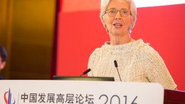 File Photo: International Monetary Fund Managing Director Christine Lagarde speaks at the China Development Forum in Beijing, China. IMF Staff Photo, Stephen Jaffe.