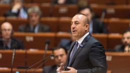 File Photo: Turkish Foreign Affairs Minister Mevlut Cavusoglu delivers his speech in the Council of Europe in Strasbourg, France. EPA, PATRICK SEEGER