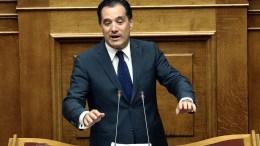 Ο αντιπρόεδρος της ΝΔ Άδωνις Γεωργιάδης μιλάει στην Ολομέλεια της Βουλής. ΑΠΕ-ΜΠΕ, ΣΥΜΕΛΑ ΠΑΝΤΖΑΡΤΖΗ