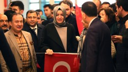 Turkish Family Minister Fatma Betul Sayan Kaya (C) arrives back from the Netherlands, at Ataturk airport in Istanbul, Turkey, 12 March 2017. Kaya was barred by police from entering the Turkish consulate in Rotterdam on 11 March, after the Dutch government had denied landing rights to Turkish Foreign Minister Cavusoglu who planned a speech at the consul's residence in Rotterdam. The incidents have led to a diplomatic row between the two countries, and protests by Turkish citizens in the Netherlands as well as in Turkey. EPA, SEDAT SUNA