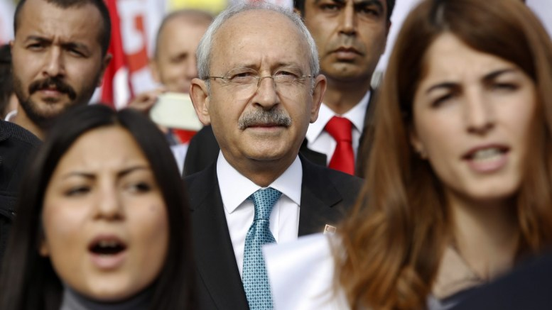 File Photo: Leader of the main Turkish opposition Republic Public Party (CHP) Kemal Kilicdaroglu (C) attends a rally marking the 93rd anniversary of the Turkish Republic's Day, in Ankara, Turkey. EPA, TUMAY BERKIN