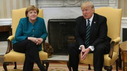 German Chancellor Angela Merkel with US President Donald Trump in the Oval Office of the White House in Washington. FILE PHOTO.. EPA, PAT BENIC / POOL