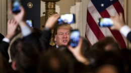 US President Donald J. Trump attends a Greek Independence Day celebration in the East Room of the White House in Washington, DC, USA, 24 March 2017. Republican lawmakers in the House may not have the votes to repeal and replace Obamacare, when their long-awaited vote comes to the House floor on Capitol Hill later in the day. EPA, JIM LO SCALZO