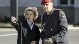 File Photo: German Defence Minister Ursula von der Leyen (L) and the head of protocoll at the German Federal Armed Forces, Andre Erich Denk, at the Federal Ministry of Defence in Berlin, Germany. EPA, CLEMENS BILAN