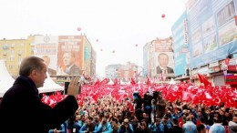 A handout photo issued 26 March 2017 and made available by the Turkish President Press office, shows Turkish President Recep Tayyip Erdogan (L) waving to his supporters during the opening ceremony of a new development in Istanbul, Turkey, 26 March 2017. Erdogan has announced that Turkey may hold a Brexit-like referendum on pursuing European Union membership, after a planned referendum in April 2017 on ammendments to the constitution could give him new sweeping powers. EPA/TURKISH PRESIDENT PRESS OFFICE / HANDOUT HANDOUT EDITORIAL USE ONLY/NO SALES