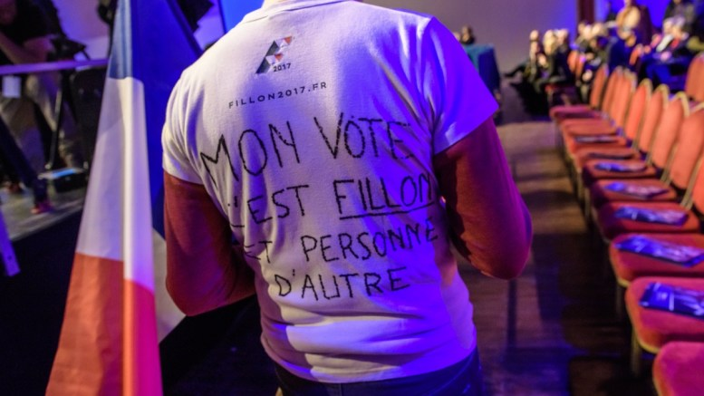 FILE PHTOTO. A 'Les Republicains' party supporter wears a tee-shirt reading 'My vote for Fillon and no-one else', during a political rally of the right-wing party candidate for 2017 presidential election. EPA/CHRISTOPHE PETIT TESSON