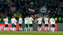 Players of Germany react after the FIFA World Cup 2018 group C qualifying soccer match between Azerbaijan and Germany at the Tofig Bahramov Republican stadium in Baku, Azerbaijan, 26 March 2017.  EPA/ZURAB KURTSIKIDZE