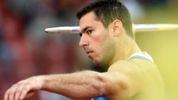 Spiridon Lebesis from Greece competes in the men's javelin throw qualifying event during the European Athletics Championships in the Letzigrund Stadium in Zurich, Switzerland, 14 August 2014.  EPA/ENNIO LEANZA
