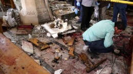 FILE PHOTO. Security personnel investigate the scene of a bomb explosion inside Mar Girgis church in Tanta, 90km north of Cairo, Egypt, 09 April 2017. EPA, STR ATTENTION EDITORS: PICTURE CONTAINS GRAPHIC CONTENT