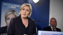 FILE PHOTO. Marine Le Pen delivers a speech during a press conference. EPA, JULIEN DE ROSA